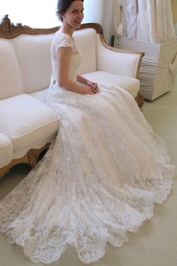 38db4ef21c Scoop Neck Short Sleeve A-Line Lace Wedding Dress WD043 on Luulla
